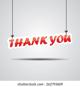 Thank you  Sign Hanging On Gray Background