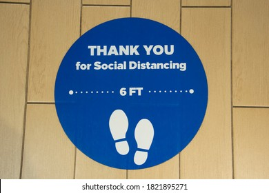 Thank you for social distancing blue round decal.
