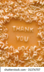 THANK YOU text made of pasta letters, ketchup tomato soup
