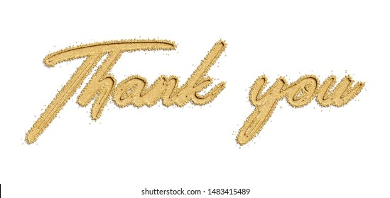 Thank you typography engrave natural sand beach isolated background