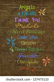 thank you in various foreign languages on an old map background