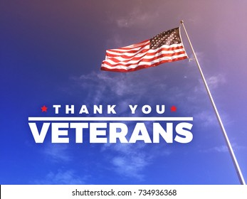 Thank You Veteran's Text with American Flag Blowing in the Wind