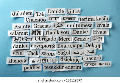 Thank You Word Cloud  printed on  paper on blue font