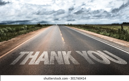 Thank You written on rural road