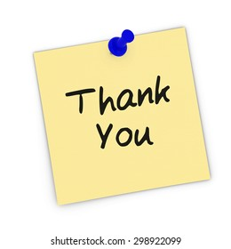 Thank You Yellow Sticky Note Pinned to white background