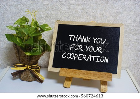 Thank You Your Cooperation Written On Stock Photo Edit