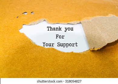 Thank you for your support text on brown envelope
