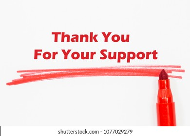 Thank You For Your Support word written with blue marker