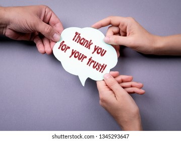 Thank you for your trust. Social media marketing concept. Speech bubble on a gray background