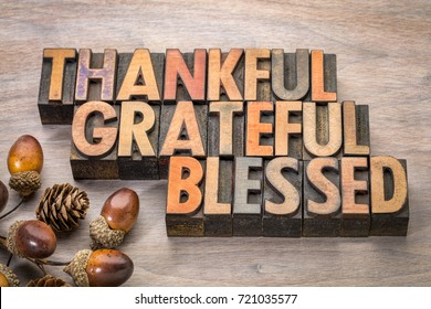 thankful, grateful, blessed - Thanksgiving theme - word abstract in vintage letterpress wood type with acorn and cone decoration