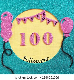 Thanks 100 subscribers with balloons and flags. web user Thank you celebrate of subscriber, followers,  likes