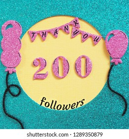 Thanks 200 subscribers with balloons and flags. web user Thank you celebrate of subscriber, followers,  likes