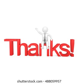 Thanks 3D person illustration vector icon