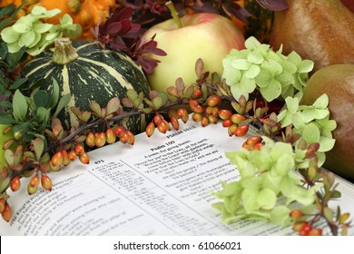 Thanksgiving arrangement with the Bible open at Psalm 100