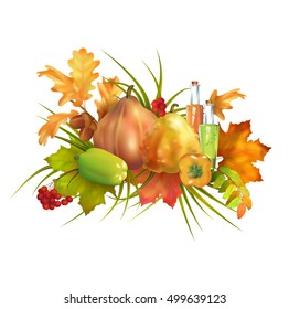 Thanksgiving autumn composition with pumpkin and fall leaves