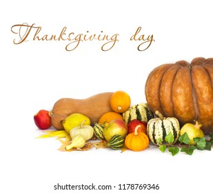 Thanksgiving background with Autumn fruits and vegetables on white