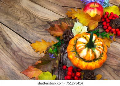 Thanksgiving background with fall yellow, red, green leaves, pumpkin, apple and ripe rowan berries, copy space