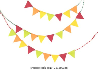 Thanksgiving bunting paper cut on white background - isolated