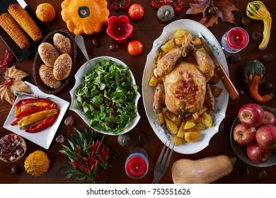 Thanksgiving Celebration Traditional Dinner Setting Food