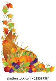 Thanksgiving Day Fall Harvest Cornucopia Pumpkin Eggplant Grapes Corns Apples with Leaves and Twine Border Raster Vector Illustration