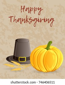 Thanksgiving day greeting card, banner or background with pumpkin, pilgrim hat and wheat ears. Hand drawn style. Raster illustration.