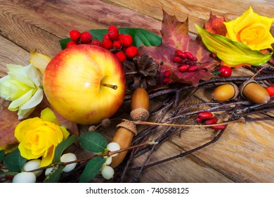 Thanksgiving decor with apple, barberry, cones, acorns and yellow rose on the wooden table