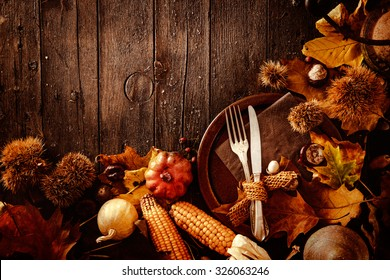 Thanksgiving Dinner Autumn Fruit With Plate And Cutlery Background