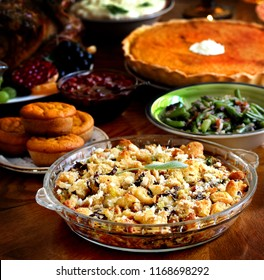 Thanksgiving dish of bread - Stuffing with mushrooms. Thanksgiving Day. the traditional dishes for Thanksgiving.