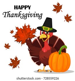Thanksgiving greeting card with a turkey bird wearing a Pilgrim hat and holding maple leaves. Raster illustration on white background