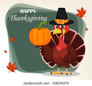 Thanksgiving greeting card with a turkey bird wearing a Pilgrim hat and holding pumpkin. Funny cartoon character for holiday. Raster illustration with maple leaves on background.