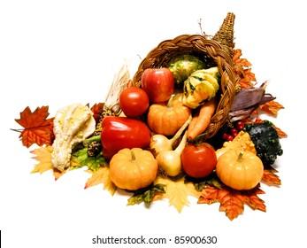 Thanksgiving or harvest cornucopia over a white background