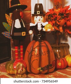 Thanksgiving holiday decor collection with nutcrackers