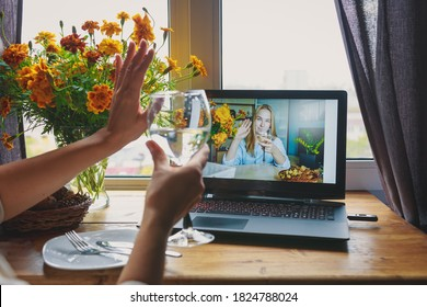 Thanksgiving online holiday remote celebration Thanksgiving day in lockdown coronavirus quarantine covid 19 new normal, social distance, remote communication, stay home vocation.Selective focus