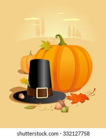 Thanksgiving poster with pumpkin, hat, acorns and maole leaves against autumn landscape backdrop, rasterized version.