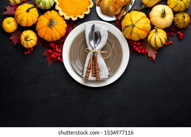 Thanksgiving table setting concept,  festive dinner invitation template with copy space for a text