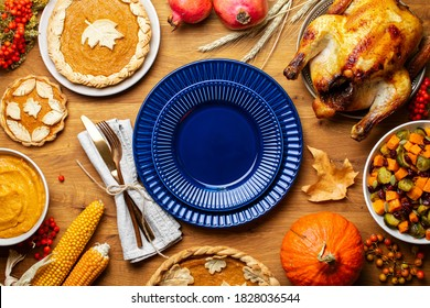 Thanksgiving traditional food recipes or charity dinner concept, top down view