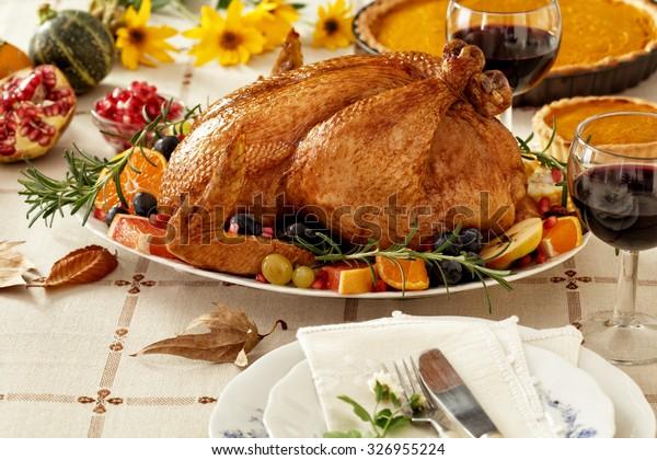 Thanksgiving Turkey dinner with pumpkin pie
