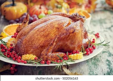 Thanksgiving Turkey dinner table setting