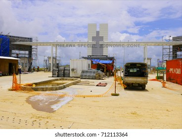 THANLYN/MYANMAR - August 20, 2015: Thilawa Special Economic Zone during construction