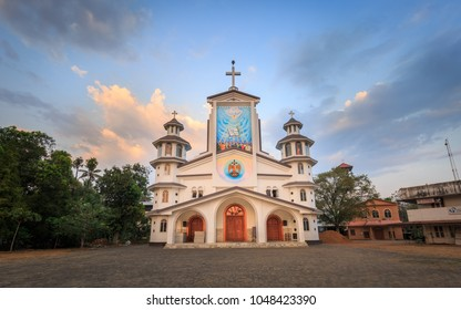Thannipuzha, Kalady, Cochin, Kerala, India - March 02, 2018: Beautiful view of St. Joseph Church Thannipuzha with dramatic clouds, Kalady, Cochin, Kerala, India.