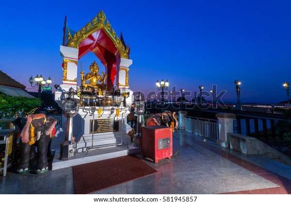 Thao Maha Brahma or Erawan Shrine of the lights on the bridge in Phitsanulok, Thailand. February 17,2017