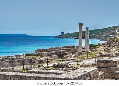 Tharros columns on a clear day, Sardinia