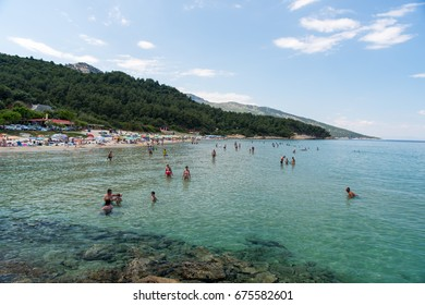 Thasos, Greece - June 20 , 2017, People enjoing a sunny day at Paradise Beach in Greek Island Thasos
