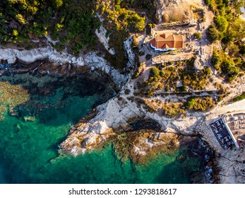 Thasos Island Two Apostles Church on the clifs near Limenas capital city of the island