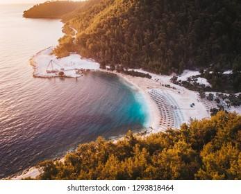 Thassos famous Porto Vathy beach near Thassos Town Limenas, Greece