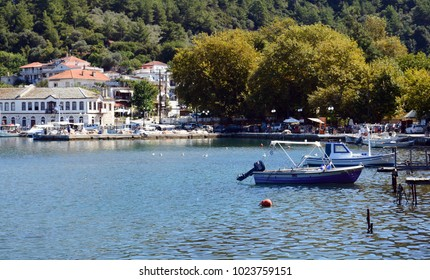 THASSOS, GREECE- September 12, 2015: Beautiful view of Thassos town ( Limenas ), in Thassos island, Greece