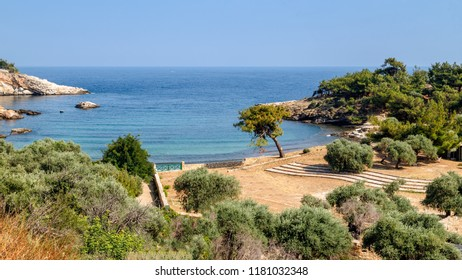 Thassos island, Greece, small beach Aliki, famous archaeological site. Travel Europe, holidays in Greece.