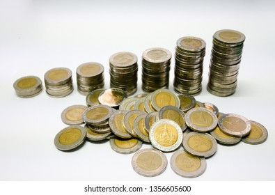 That baht currency coins of 10 Baht that are sorted on white or isolated background that ready for using in business, saving or financial industry concept