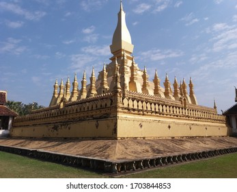 that luang stupa in vientiane of laos