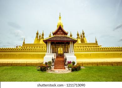 That Luang Temple, Vientiane, Lao PDR. Pha That Luang is a gold-covered large Buddhist stupa in the center of the city of Vientiane, Laos.